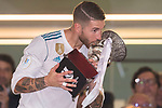 Sergio Ramos of Real Madrid celebrates winning the Supercopa de Espana after the Supercopa de Espana Final 2nd Leg match between Real Madrid and FC Barcelona at the Estadio Santiago Bernabeu on 16 August 2017 in Madrid, Spain. Photo by Diego Gonzalez Souto / Power Sport Images