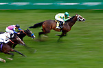 LOUISVILLE, KY - MAY 06: Arklow #6, ridden by Mike Smith, wins the American Turf Stakes  on Kentucky Derby Day at Churchill Downs on May 6, 2017 in Louisville, Kentucky. (Photo by Jon Durr/Eclipse Sportswire/Getty Images)