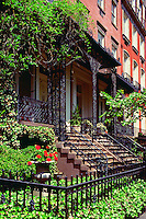 The exterior of stately old townhouses in Gramercy Park. New York.
