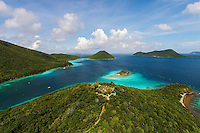 Leinster Bay and Waterlemon Cay<br /> with the ruins at Windy Hill<br /> Virgin Islands National Park<br /> St. John<br /> U.S. Virgin Islands
