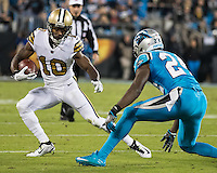 Charlotte, NC - November 17, 2016: The Carolina Panthers play the New Orleans Saints at Bank of America Stadium.  Final score Panther 23, Saints 20.