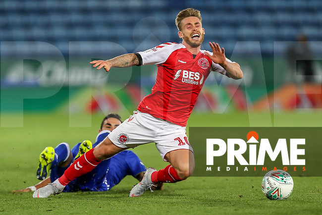 Conor McAleny of Fleetwood Town is fouled by Vicente Iborra of Leicester City during the English League Cup Round 2 Group North match between Leicester City and Fleetwood Town at the King Power Stadium, Leicester, England on 28 August 2018. Photo by David Horn.