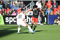 WASHINGTON, DC - MARCH 07: Yamil Asad #11 of D.C. United battles the ball with Dylan Nealis #18 of Inter Miami CF during a game between Inter Miami CF and D.C. United at Audi Field on March 07, 2020 in Washington, DC.
