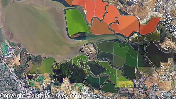 aerial photo map of the salt pond network in the South San Francisco Bay, California