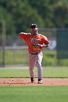GCL Astros Sean Mendoza (3) throws to first base during a Gulf Coast League game against the GCL Marlins on August 8, 2019 at the Roger Dean Chevrolet Stadium Complex in Jupiter, Florida.  GCL Astros defeated GCL Marlins 4-2.  (Mike Janes/Four Seam Images)