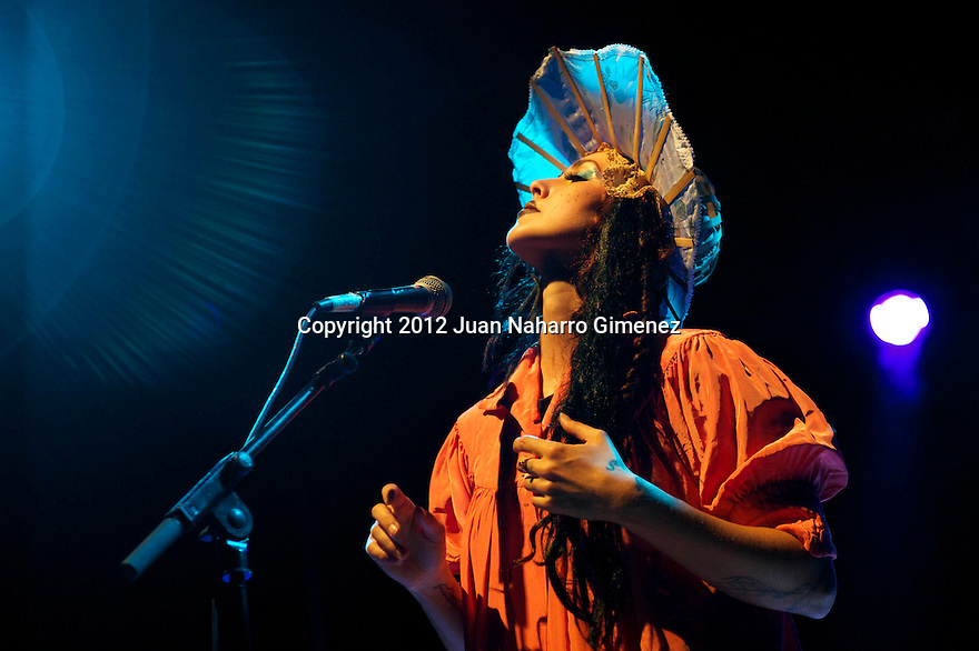"""MADRID, SPAIN - JULY 18:  Singer Bianca Casady of the band CocoRosie performs on stage during """"Veranos de la Villa 2012"""" at Teatro Circo Price on July 18, 2012 in Madrid, Spain.  (Photo by Juan Naharro Gimenez)"""