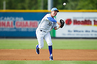 Burlington Royals third baseman Ryan Dale (63) makes a throw to first base against the Greeneville Astros at Burlington Athletic Park on June 29, 2014 in Burlington, North Carolina.  The Royals defeated the Astros 11-0. (Brian Westerholt/Four Seam Images)