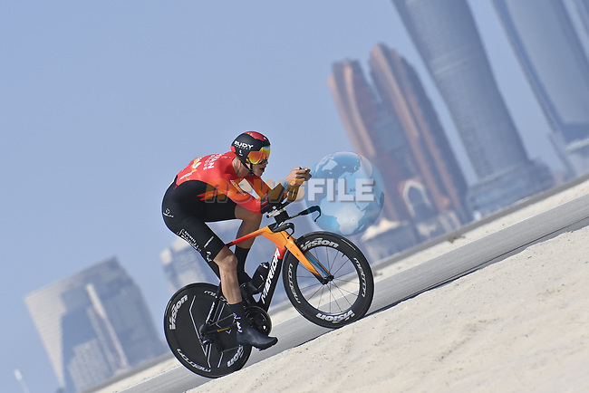 Bahrain Victorious riders recon the stage before the start of Stage 2 of the 2021 UAE Tour running 13km around  Al Hudayriyat Island, Abu Dhabi, UAE. 22nd February 2021.  <br /> Picture: LaPresse/Fabio Ferrari | Cyclefile<br /> <br /> All photos usage must carry mandatory copyright credit (© Cyclefile | LaPresse/Fabio Ferrari)