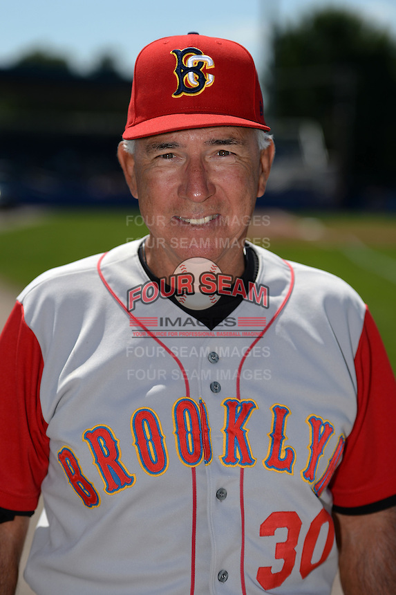 Brooklyn Cyclones pitching coach Dave LaRoche (30) poses for a photo before a game against the Batavia Muckdogs on August 10, 2014 at Dwyer Stadium in Batavia, New York.  Brooklyn defeated Batavia 5-2.  (Mike Janes/Four Seam Images)