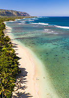 Aerial view of Mokule'ia Beach and the coastline along O'ahu's North Shore.