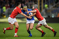 Angelo Esposito Italy, Jonathan Davies and Owen Watkin Wales.<br />  <br /> Roma 9-02-2019 Stadio Olimpico<br /> Rugby Six Nations tournament 2019  <br /> Italy - Wales <br /> Foto Antonietta Baldassarre / Insidefoto