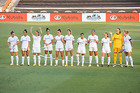 HOUSTON, TX - OCTOBER 04: The North Carolina Courage starting lineup stands on the field before a game between North Carolina Courage and Houston Dash at BBVA Stadium on October 04, 2020 in Houston, Texas.