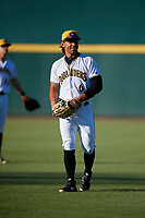 Bradenton Marauders left fielder Tyler Gaffney (6) warms up before a game against the Tampa Tarpons on April 25, 2018 at LECOM Park in Bradenton, Florida.  Tampa defeated Bradenton 7-3.  (Mike Janes/Four Seam Images)