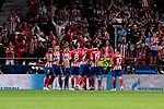 Atletico de Madrid's players celebrate goal during UEFA Champions League match between Atletico de Madrid and Club Brugge at Wanda Metropolitano Stadium in Madrid, Spain. October 03, 2018. (ALTERPHOTOS/A. Perez Meca)