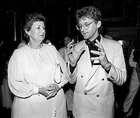 July 1987  File Photo - Lise Bacon (L) and Gilbert Rozon (R)<br /> <br /> at  Festival Juste Pour Rire Gala