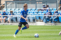 SAN JOSE, CA - APRIL 24: Jackson Yueill #14 of the San Jose Earthquakes dribbles the ball during a game between FC Dallas and San Jose Earthquakes at PayPal Park on April 24, 2021 in San Jose, California.