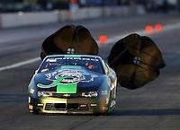 Nov 11, 2016; Pomona, CA, USA; NHRA pro stock driver Alex Laughlin during qualifying for the Auto Club Finals at Auto Club Raceway at Pomona. Mandatory Credit: Mark J. Rebilas-USA TODAY Sports