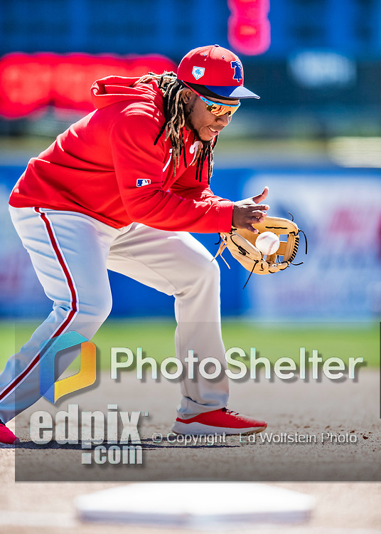 6 March 2019: Philadelphia Phillies infielder Maikel Franco warms up prior to a Spring Training game against the Toronto Blue Jays at Dunedin Stadium in Dunedin, Florida. The Blue Jays defeated the Phillies 9-7 in Grapefruit League play. Mandatory Credit: Ed Wolfstein Photo *** RAW (NEF) Image File Available ***