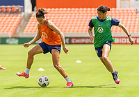 HOUSTON, TX - JUNE 9: Carli Lloyd #10 of the USWNT back heels the ball during a training session at BBVA Stadium on June 9, 2021 in Houston, Texas.
