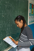 Serbia. Leskovac is a city and the administrative center of the Jablanica District in southern Serbia. «Petar Tasir» Elementary School. The school's students are all from Romani ethnicity. Classroom. 5th Grade. Mathematics class. A young female student with braids in her hair holds her notebook in her hand and stands close to the blackboard. The Romani (also spelled Romany) or Roma, Roms or Gypsies, are a traditionally itinerant ethnic group. The Pestalozzi Children's Foundation (Stiftung Kinderdorf Pestalozzi) is advocating access to high quality education for underprivileged children. It supports in Leskovac a project called» Together in transition».18.4.2018 © 2018 Didier Ruef for the Pestalozzi Children's Foundation