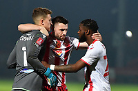Aramide Oteh of Stevenage FC scores the winning penalty  and celebrates with Jamie Cumming of Stevenage FC and Danny Newton of Stevenage FCduring Stevenage during Stevenage vs Concord Rangers , Emirates FA Cup Football at the Lamex Stadium on 7th November 2020