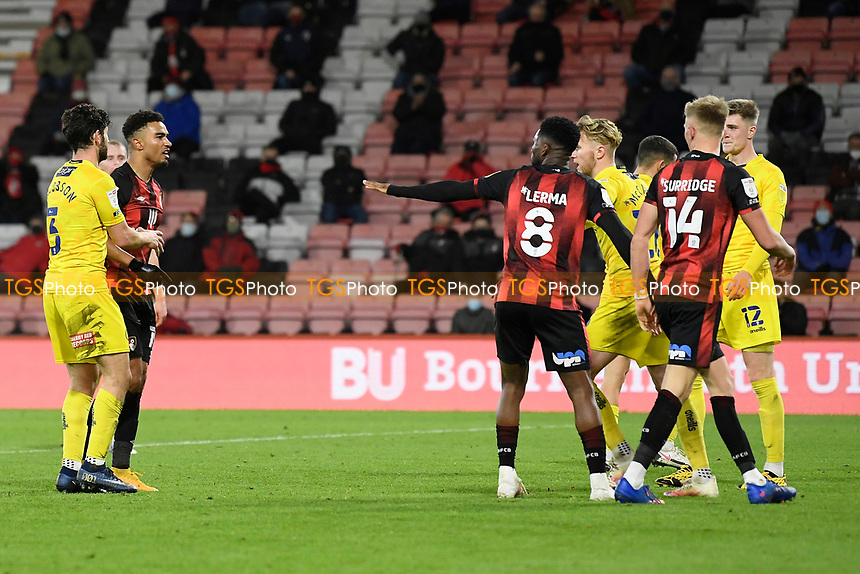 Junior Stanislas of AFC Bournemouth left has words with Sam Surridge of AFC Bournemouth as Jefferson Lerma of AFC Bournemouth intervens during AFC Bournemouth vs Wycombe Wanderers, Sky Bet EFL Championship Football at the Vitality Stadium on 15th December 2020