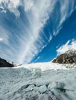 Cloud formation over Main Icefall on Franz Josef Glacier, Westland Tai Poutini National Park, UNESCO World Heritage Area, West Coast, New Zealand, NZ