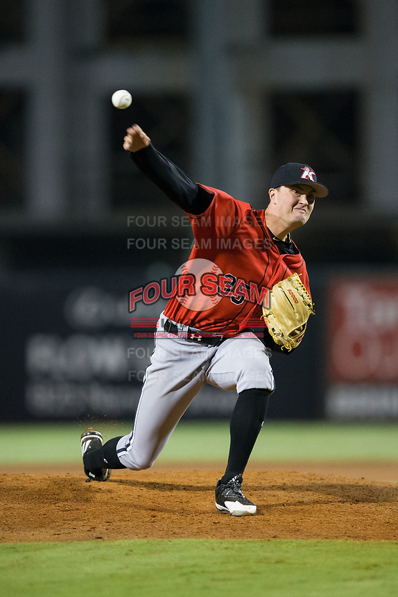 Kannapolis Intimidators relief pitcher Kade McClure (35) delivers a pitch to the plate against the Greensboro Grasshoppers in Game One of the South Atlantic League Northern Division playoff series at First National Bank Field on September 7, 2017 in Greensboro, North Carolina.  The Intimidators defeated the Grasshoppers 4-0.  (Brian Westerholt/Four Seam Images)