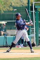 Outfielder Johan Camargo (33) of the Atlanta Braves farm system in a Minor League Spring Training intrasquad game on Wednesday, March 18, 2015, at the ESPN Wide World of Sports Complex in Lake Buena Vista, Florida. (Tom Priddy/Four Seam Images)