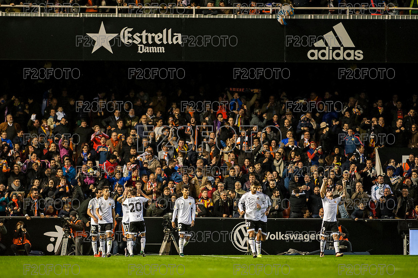 VALENCIA, SPAIN - JANUARY 3: Valencia team celebrating his goal during BBVA LEAGUE match between Valencia C.F. and Real Madrid at Mestalla Stadium on January 3, 2015 in Valencia, Spain