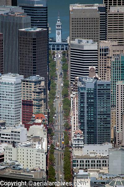 aerial photograph Market Street, Ferry Building, financial district, San Francisco, California