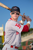 Brett Netzer (12) of the Greenville Drive poses for a photo Kannapolis Intimidators at Kannapolis Intimidators Stadium on August 9, 2017 in Kannapolis, North Carolina.  The Drive defeated the Intimidators 6-1.  (Brian Westerholt/Four Seam Images)
