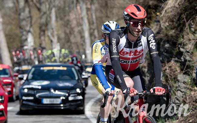 Tomasz Marczyński (POL/Lotto Soudal) in the breakaway of the day<br /> <br /> 107th Liège-Bastogne-Liège 2021 (1.UWT)<br /> 1 day race from Liège to Liège (259km)<br /> <br /> ©kramon