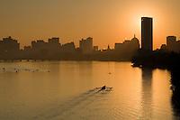 Rowing sunrise Charles River, Boston, MA