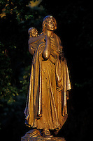 Late evening light graces Statue of Sacagawea (also known as Sakakawea) in Bismarck, North Dakota.  She was famed guide and interpreter for Lewis and Clark expedition.  For more info concerning statue (701) 224-2480.