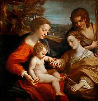 The Mystical Marriage of Saint Catherine by Correggio (1489-1534) / Louvre, Paris / 1526-1527 / Italy, Parmese School / Oil on wood / Bible / 105x102 / Renaissance