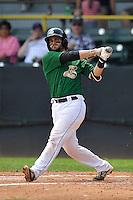 Clinton LumberKings James Alfonso (12) swings during the Midwest League game against the Beloit Snappers at Ashford University Field on June 12, 2016 in Clinton, Iowa.  The LumberKings won 1-0.  (Dennis Hubbard/Four Seam Images)