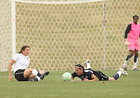 Lisa De Vanna (blue) of the Washington Freedom crashes to the ground after a tackle by Yael Averbuch  of Sky Blue F.C. during a WPS pre season match at Maryland Soccerplex,in Boyd's, Maryland on March 14 2009. Sky Blue won the match 1-0