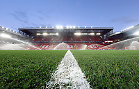 A general view of the pitch as sprinklers prepare the playing surface at Anfield, home of Liverpool FC<br /> <br /> Photographer Rich Linley/CameraSport<br /> <br /> UEFA Champions League Round of 16 Second Leg - Liverpool v Atletico Madrid - Wednesday 11th March 2020 - Anfield - Liverpool<br />  <br /> World Copyright © 2020 CameraSport. All rights reserved. 43 Linden Ave. Countesthorpe. Leicester. England. LE8 5PG - Tel: +44 (0) 116 277 4147 - admin@camerasport.com - www.camerasport.com