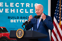 US President Joe Biden delivers remarks on the economy and the September jobs report in the South Court Auditorium at the White House in Washington, DC, USA, 08 October 2021. The 194,000 jobs created in September reflect a slow down from the 366,000 jobs created a month earlier.<br /> CAP/MPI/RS<br /> ©RS/MPI/Capital Pictures