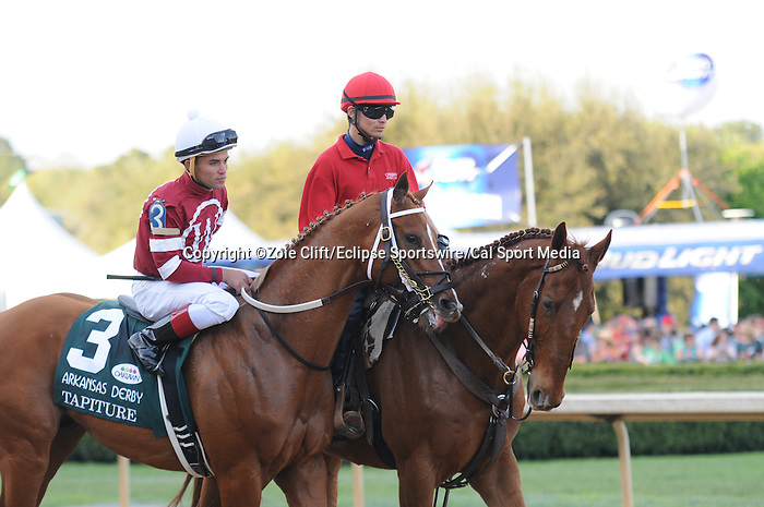 April 12, 2014: #3 Tapiture with jockey Joel Rosario aboard before the start of the Arkansas Derby (Grade I) at Oaklawn Park in Hot Springs, AR. Zoie Clift/ESW/CSM