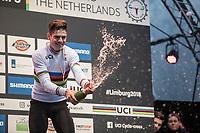 Wout Van Aert (BEL/Crelan Charles) champaign moment<br /> <br /> Men Elite Race<br /> UCI CX Worlds 2018<br /> Valkenburg - The Netherlands