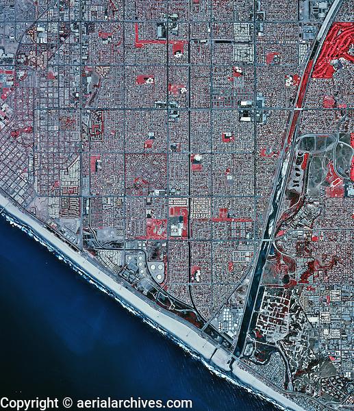 historical infrared aerial photograph of Huntington Beach, California, 2002