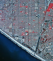 historical infrared aerial photograph of Huntington Beach, California, 2002