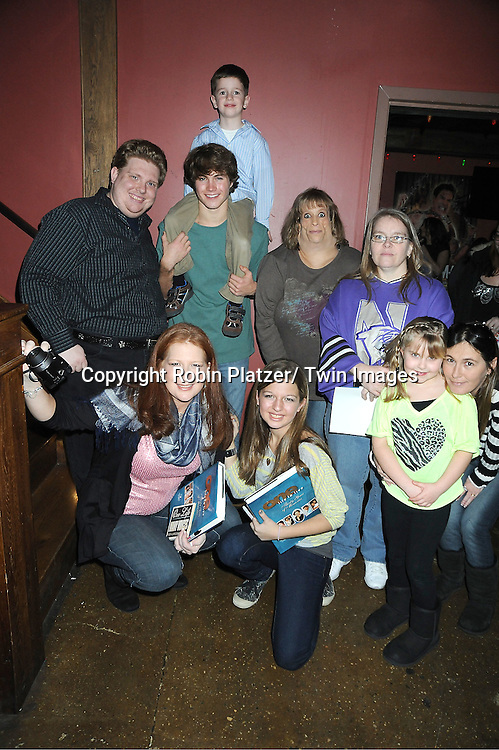 Andrew Trischitta and Patrick Gibbons, Jr and fans attend The One Life To Live Benefit for The Amber Roach Memorial Garden on January 7, 2012 at Brother .Jimmy's BBQ Union Square Restaurant in New York City.