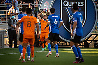 SAN JOSE, CA - JULY 24: Zarek Valentin #4 of the Houston Dynamo takes a throw in during a game between San Jose Earthquakes and Houston Dynamo at PayPal Park on July 24, 2021 in San Jose, California.