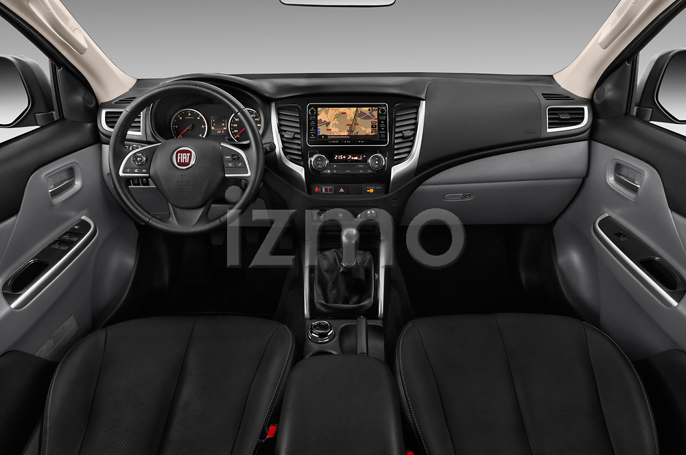 Stock photo of straight dashboard view of 2017 Fiat Fullback Sport Pack 4 Door Pick Up