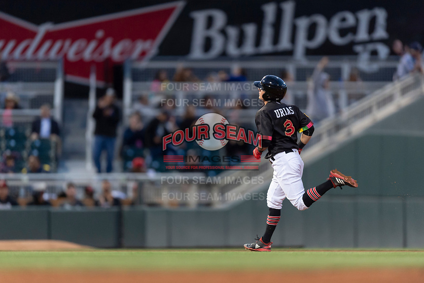 El Paso Chihuahuas shortstop Luis Urias (3) jogs around the bases after hitting a home run during a Pacific Coast League game against the Albuquerque Isotopes at Southwest University Park on May 10, 2019 in El Paso, Texas. Albuquerque defeated El Paso 2-1. (Zachary Lucy/Four Seam Images)