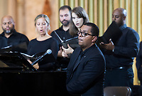 Gregory Charles performs during the funeral of Paul Gerin-Lajoie in Montreal, Thursday, August 9, 2018.THE CANADIAN PRESS/Graham Hughes