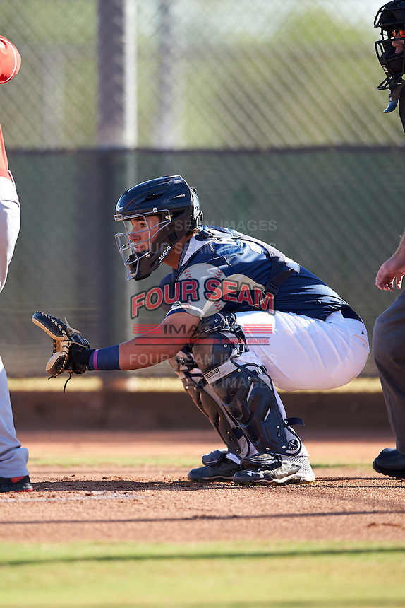 Milwaukee Brewers catcher Payton Henry (15) during an Instructional League game against the Cincinnati Reds on October 14, 2016 at the Maryvale Baseball Park Training Complex in Maryvale, Arizona.  (Mike Janes/Four Seam Images)